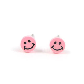 Pink Smiley Face Earrings Smile Studs Polymer Clay Tiny Earrings Free Shipping Etsy Gift for her under 10