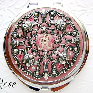 Bridesmaid Gift Rose Antique Pink Custom Personalized Compact Mirror , Wedding Party