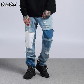 Casual Pants Ripped Jeans for Men Joggers Winter Jeans Hip Hop Swag patchwork Street wear
