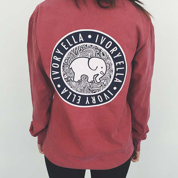 Brand New 2017 Spring Summer Elephant T Shirt Women Tops Tees Print Animal Ivory Ella T-shirt Loose Long Sleeve Harajuku Top