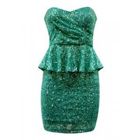 SEQUIN BANDEAU PEPLUM DRESS