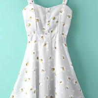 White Spaghetti Strap Sunflowers Print A-Line Pleated Mini Dress