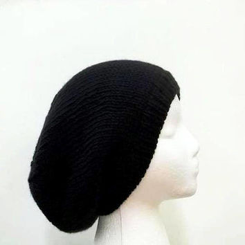 Black slouchy beanie hat knitted men or women large size 5092