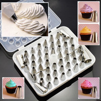 Stainless Steel 52PCS Cake Decorating Pastry Nozzles Sugarcraft Icing Piping
