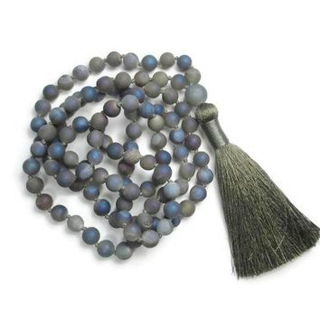 Druzy Geode Hand Knotted Necklace 108 Mala Bead Necklace Yoga Mala meditation Beads Jewelry Prayer Necklaces Tassel Necklaces
