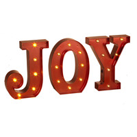 JOY - LED Illuminated Lighted Metallic RED Marquee Word Sign 10-in Christmas Holiday Decor