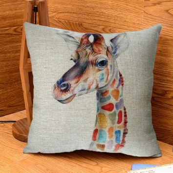Modern Simple 18'' Cute Colorful Giraffe Cotton Linen Square Throw Pillow Case Soft Cover #84089