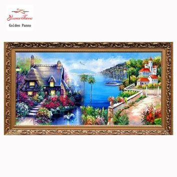 Needlework,DIY DMC Cross stitch,Sets For Embroidery kits,Mediterranean landscape Pattern Counted Cross-Stitching,Wall Home Decro