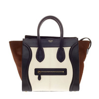Celine Luggage Tricolor Pony Hair and Leather Mini