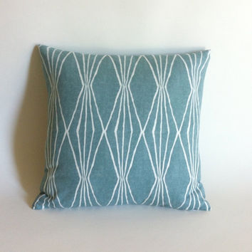 11 Sizes Available: One Blue Diamonds Geometric print Decorative Zipper Pillow Cover 22x22 24x24 14x36 Seafoam White Hand Blocked Lines