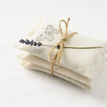 Butterfly Lavender Sachets, Romantic Home Decor, Cotton Anniversary Gift, Gardenmis