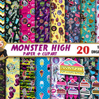 Monster High digital paper, clipart, kids birthday, party paper, cake, dolls, for invitations, Scrapbooking Paper, patterns, backgrounds