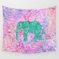 Elephant in Paisley Dream Wall Tapestry by Girly Trend