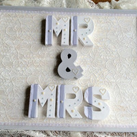 MR and MRS sign, wedding gift, engagement gift, anniversary gift, newly wed gift, grey and white, home decor, house warming, shabby chic