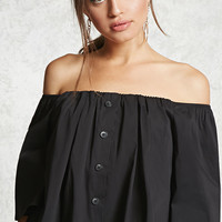 Off-the-Shoulder Button Top
