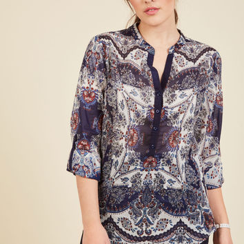 Take a Haiku Cotton Top in Paisley | Mod Retro Vintage Short Sleeve Shirts | ModCloth.com