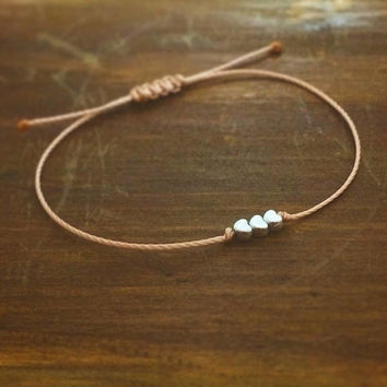 Rose Gold Friendship Bracelet - Best Friend Gift - Gift for Her - Sister Bracelet - Rose Gold Bracelet - Heart Bracelet - Bridesmaid Gift