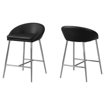 Barstool - 2Pcs / Black / Chrome Base / Counter Height