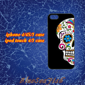 iphone 4 case,iphone 4s case,iphone 5 case,ipod touch 4 case,ipod touch 5 case--Floral Skull,Sugar skull,Cool skull,in plastic and silicone
