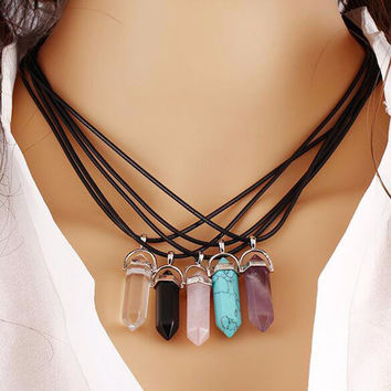 Hexagonal Pendant Chains Resin Turquoise Color Leather Rope for Pendant Necklace Bracelet Collar DIY Jewelry Making Accessories