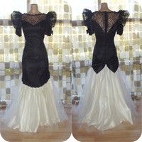 Vintage 80s Dress | 1980s Mermaid Gown | Dramatic Bombshell Dress | Black Illusion Lace | White Tulle Pouf | Prom Bridesmaid Halloween