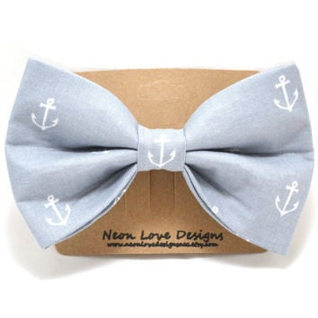 Gray and White Nautical Anchor Hair Bow Barrette