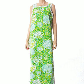 Vintage 70s The Lilly Floral Lace Maxi Dress 1970s Lilly Pulitzer Mad Men Mod Green Blue White Flowers Boho Hippie Hawaiian Dress size M L