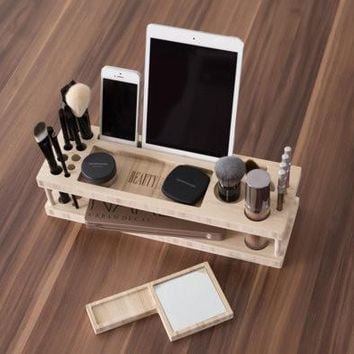 Taylor Beauty Station | Daily Make-up Organizer with Mirror - Gift for Her - Makeup Brush Eyeliner Pencil Blush iPad Holder - Fast Shipping
