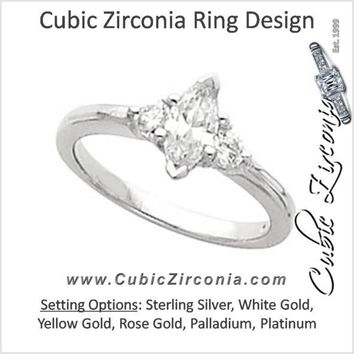 Cubic Zirconia Engagement Ring- The Honey (3-stone with Marquise Cut Center)