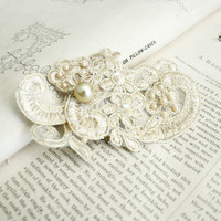 bridal lace hair comb - WHEN TWO become ONE - bridal fascinator  - bridal hair - ivory - champagne