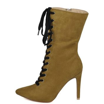 Olivia Lace Up Mid Calf Stiletto Boots
