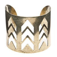 Gold Cut Out Chevron Cuff Bracelet