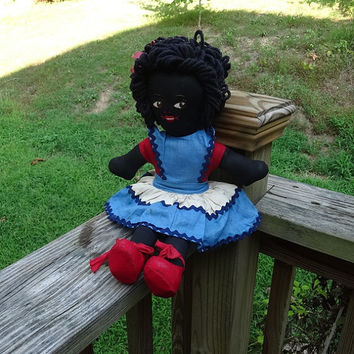 Black Americana Folk Rag Doll, Home Sewn, Red, White, Blue Dress, Bloomers, Red Shoes, Hand Embroidered Face, Yarn Loop Hair, Vintage Doll