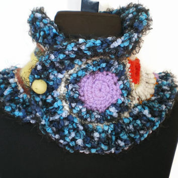 Chunky knit - Freeform Crochet Cowl Scarf - Neck Warmer - one of a kind