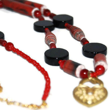 Red and Black Paper Bead Opera Length Necklace with Gold Heart Charm - Handmade Crafts by Ivonnardona's Creations