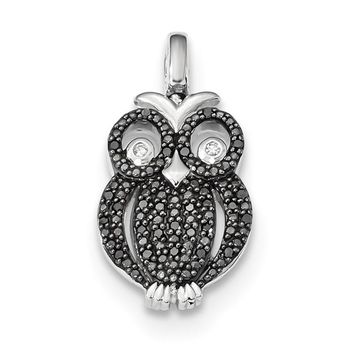 Sterling Silver 0.2ct. Black And White Diamond Reversible Owl Pendant