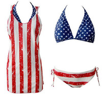 Union Jack Bikini Set with Women Vest