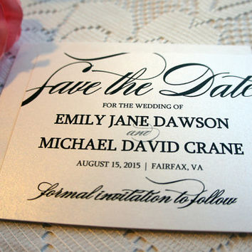 Elegant Save the Date Cards - Formal Save the Date Card, Classy, Script, Black and White, Save the Dates - DEPOSIT to get started