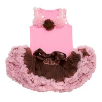 Trendy Pink & Brown Rosettes  Petti Skirt Set