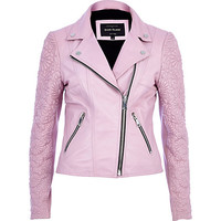 River Island Womens Pink embossed leather jacket