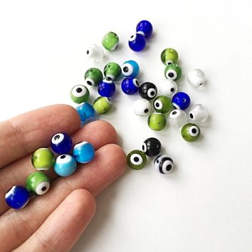 Mixed color evil eye beads- 6mm 8mm 10mm glass beads for bracelets - Turkish lamp work set of 35 to 45 beads - diy jewelry supplies