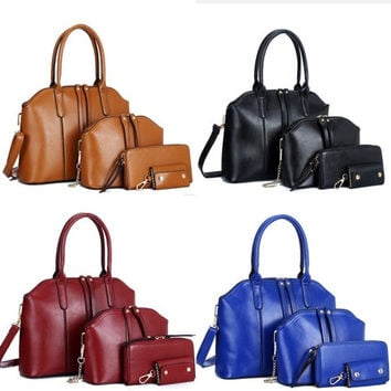 New women handbags genuinet leather handbag women messenger bags brand designs bag bags Handbag+Messenger Bag+Purse+Card bag = 1932535748