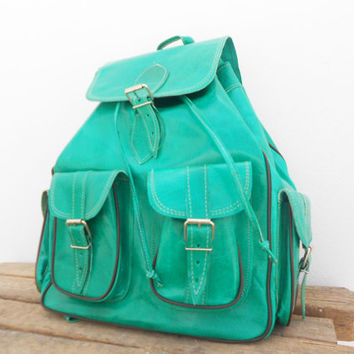 SALE - Leather Backpack Medium Light Green, satchel bag Handmade Soft Leather School College Travel Picnic Weekend bag, Gift For Her
