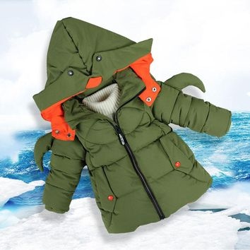Child Kids Boy Cartoon Cotton Hooded Jacket Autumn Winter Thick Coats Outerwear Children's Boy Clothing School Clothes for 3-9T