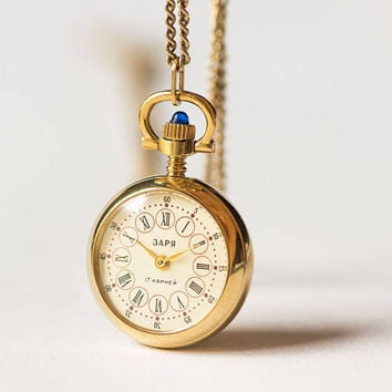 Rare watch necklace Dawn round, tiny necklace watch gold plated, mechanical watch pendant rose ornament, delicate women's pendant watch gift