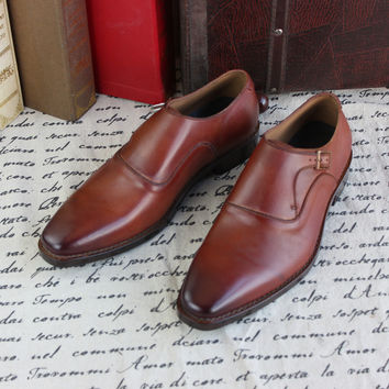 Italia Craft Genuine Calf Leather Men's Monk Straps Hand Made Shoes