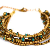 Multi Strand Antique Gold and Turquoise Bead Bracelet