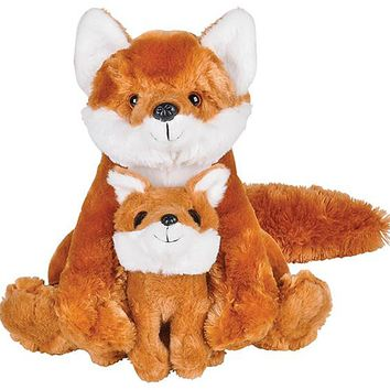 11 and 5 Inch Stuffed Red Fox Mom and Baby Plush Floppy Zoo Animal Family Collection