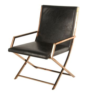 Lyra Accent Arm Chair, Rose Gold/Black