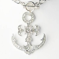 Floral Flower Ice Clear Crystal Rhinestone Sailor Boat Anchor Pendant Necklace